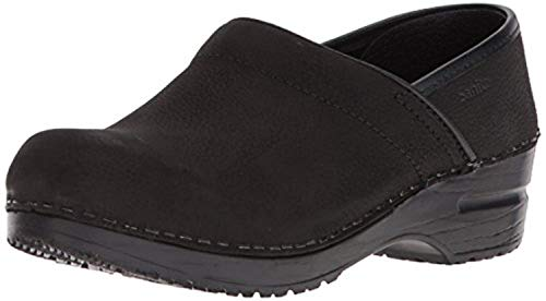 Sanita Women's Professional Oiled Leather Clogs - Wide Black 38 & Rag - Oiled Clogs Sanita