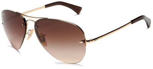 Ray-Ban RB3449 Aviator Sunglasses, Gold/Brown Gradient, 59 ()
