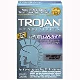 Bundle Package Of Trojan Thintensity 12 Pack And a Bottle of 1.7 -oz Personal Silicone Lubricant