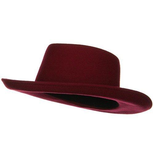 SS/Hat Women's Gambler Felt Hat- Red Burgundy OSFM (Hat Womens Felt Gambler)