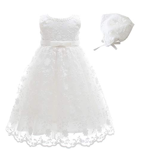 Glamulice Baby-Girls Newborn Satin Baptism Dress Elegant Lace Cap Flower Christening Gown (0-6 Months, Sleeveless Dress & Hat)