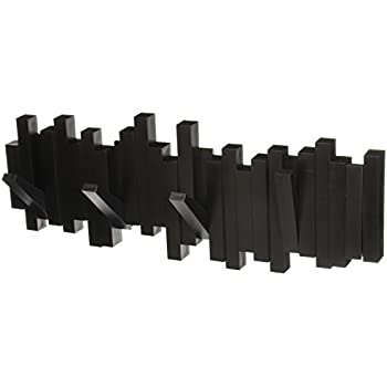 Umbra Sticks Multi Rack – Modern, Unique, Space-Saving Hanger with 5 Flip-Down Hooks for Hanging Coats, Scarfs, Purses and More, Black