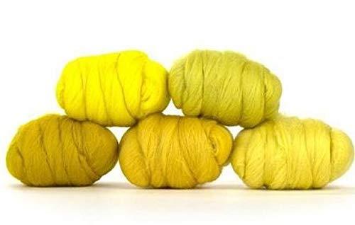 Paradise Fibers Mixed Merino Wool Bag - Yummy Yellow - Merino Wool Fiber Lot Perfect for Needle Felting, Wet Felting, Hand Spinning, and Blending ()