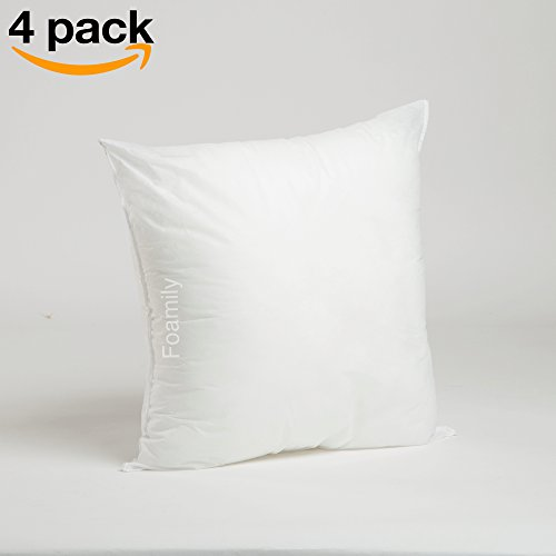 Foamily Set of 4 Premium Hypoallergenic Stuffer Pillow Insert Sham Square Form Polyester, 18″ L X 18″ W, Standard/White