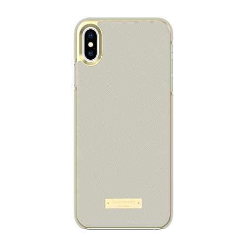Kate Spade New York Phone Case | for Apple iPhone Xs Max | Protective Phone Cases with Wrap Design and Drop Protection - Saffiano Clocktower Grey/Gold Logo Plate