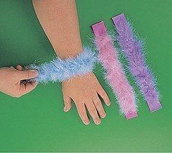 Fun Express Girls Birthday Party Loot Bags Iridescent Pastel Marabou Slap Bracelets Assortment (1 Dozen)