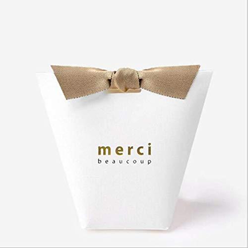 100pcs/50pcs/20pcs Merci Beaucoup White Color Wedding Gift Boxes Paper Cake Box Baby Shower Favor Boxes Candy Box with Ribbon (White, 50PCS)