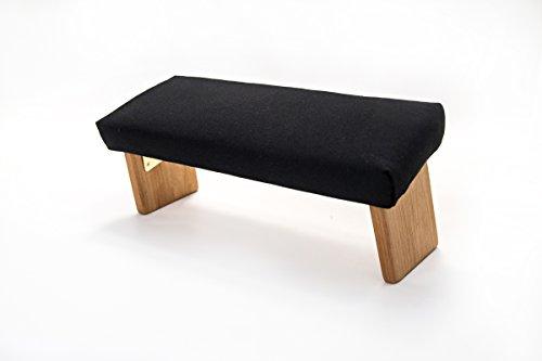 (Ananda Woodworking Folding Meditation Bench, Angled Legs (Organic Cotton Black, Standard) )