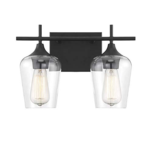 "Savoy House 8-4030-2-BK Octave 2-Light Bathroom Vanity Light in a Black Finish with Clear Glass (14"" W x 9"" H) - APPLICATIONS: Perfect for use in bathrooms and over vanities. Adds charm to any interior VERSATILE: LED/CFL/Incandescent compatible, holds two 60 Watt E26 Base Bulbs (Not Included) INSTALL YOUR WAY: This versatile fixture can be installed either with bulbs pointing UP or DOWN - bathroom-lights, bathroom-fixtures-hardware, bathroom - 31g71NKx6cL -"