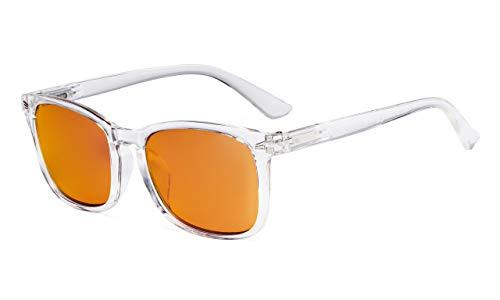 Eyekepper Blue Light Blocking Computer Reading Glasses-Square Nerd Readers with Orange Lens,Transparent +0.50