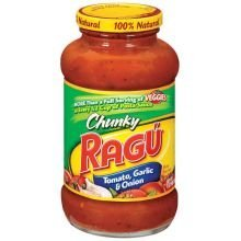 (Ragu Chunky Pasta Sauce 24oz Jar (Pack of 4) (Choose Flavor Below) (Tomato Garlic & Onion))