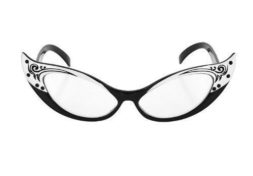 Elope Inc Vintage Cat Eyes Glasses Black/White One Size (Dame Edna Costumes)