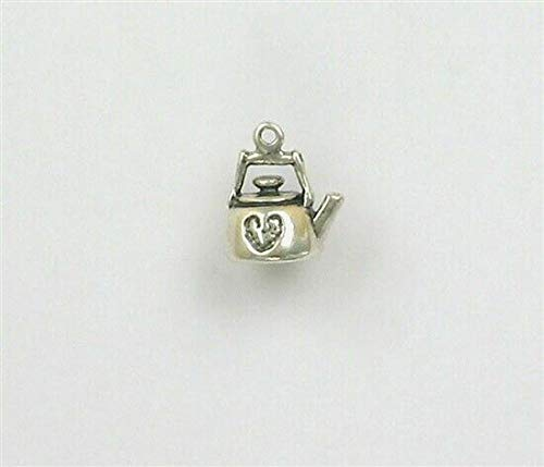 (Pendant Jewelry Making/Chain Pendant/Bracelet Pendant Sterling Silver 3-D Tea Kettle with a Heart Charm)