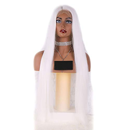 136 Lace Frontal Synthetic Wigs White #60 Color Silky Straight Costume Wigs Long Lace Front Wig Full for Women,13x6 Lace Front,26inches
