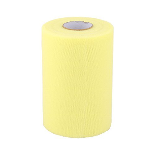 DealMux Polyester Family Wedding Dress Tutu Gift Decor DIY Craft Tulle Spool Roll 6 Inch x 100 Yards Light Yellow by DealMux