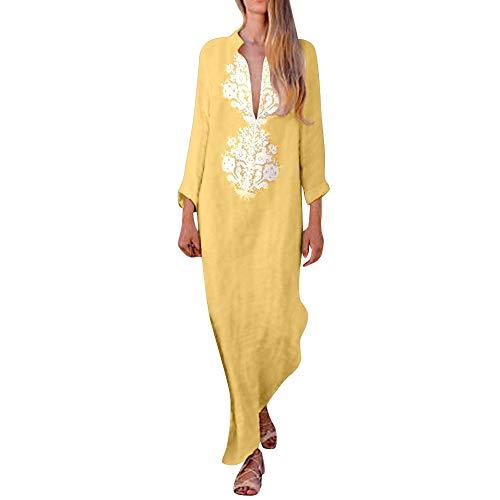 Womens Long Sleeve KIKOY Fashion Printed V-Neck Maxi Dress Hem Baggy Long Dress