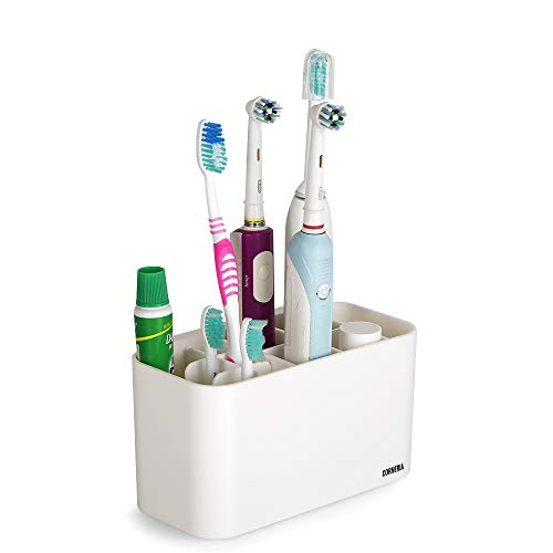 CORNERIA Easy-Store Toothbrush Holders - Toothpaste Stand and Toothbrush Caddy for Electric Toothbrushes - Versatile Bathroom Organizer for Oral Care and Bath Staff - Detachable