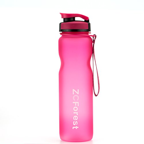 ZCForest Sport Water Bottles 36oz/1000ml, Wide Mouth Sports Cup for Travelers,Students,Scalers,Outdoor and Indoor Activities-Pink