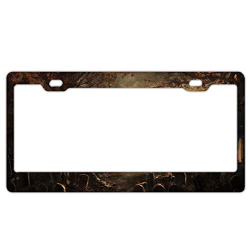 (SUJQNGC License Plate Frames,Halloween Tombstones Alumina Car Licence Plate Covers Slim Design with Bolts Washer Caps for US)