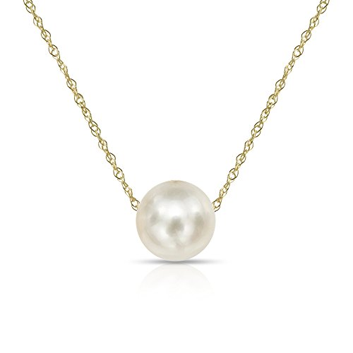 14K Yellow Gold Chain with 7-7.5mm White Freshwater Cultured Pearl Floating Pendant Necklace, 18