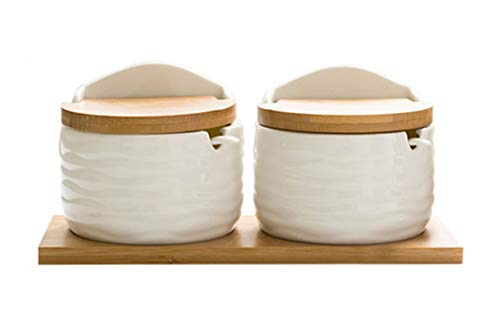(Ceramic Salt and Pepper Bowl Set Condiment Pot Flip Lid Sugar Bowl Salt Bowl Spice Jar Tea Storage Seasoning Bowl with Spoon for Home Kitchen Holiday Housewarming Gift (2 Round A))