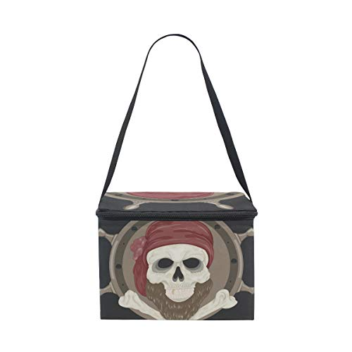 LORVIES Pirate Skull With Beard Insulated Lunch Bag Cooler Reusable Tote Bag with Adjustable Shoulder Strap for Women Men -