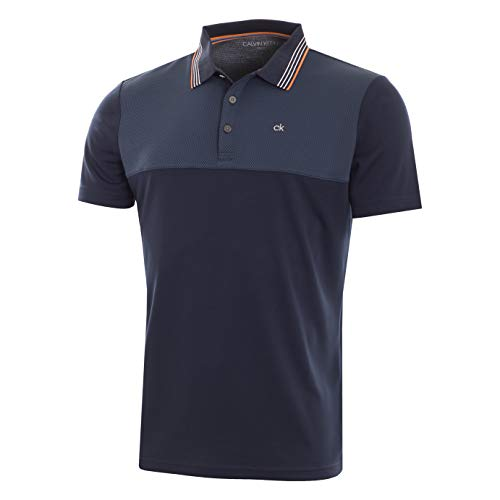 Calvin Klein Golf Men's 39TH Street Polo, Navy/Orange, ()