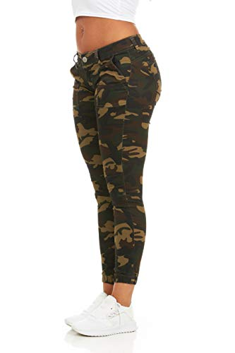 cover girl Women's Tall Plus Size Army Style Camo Print Skinny Button or Drawstring Jogger, Camo Cargo,PLUS 20W