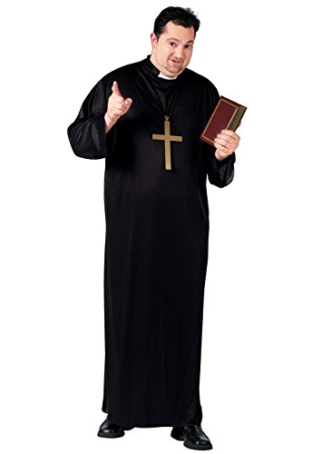 Fun World Priest Plus Size Costume, Black, Plus - Priest Adult Plus Costumes