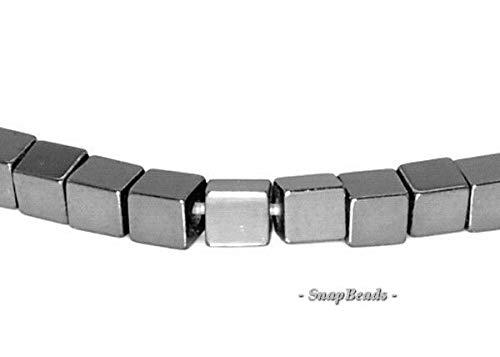 Bead Jewelry Making 4MM Noir Black Hematite Gemstone Black Square Cube 4X4MM Loose Beads 16