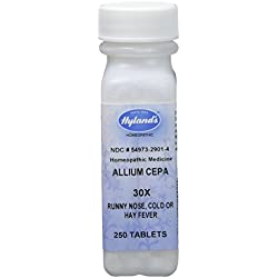 Hyland's Allium Cepa 30X Tablets, Natural Homeopathic Runny Nose, Cold or Hay Fever Relief, 250 Count (Pack of 1)