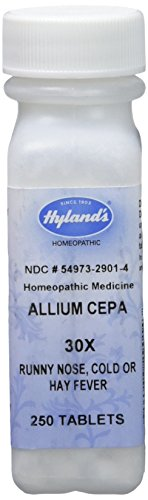 Hyland's Allium Cepa 30X Tablets, Natural Homeopathic Runny Nose, Cold or Hay Fever Relief, 250 Count (Pack of 1) Homeopathic Remedy Runny Nose