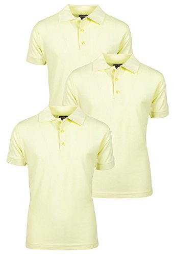 Yellow Uniform (Beverly Hills Polo Club 3 Pack of Boys' Short Sleeve Pique Uniform Polo Shirts, Size 10, Yellow)