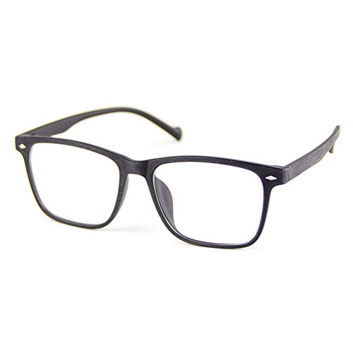 Cyxus Blue Light Blocking TR90 Lightweight Glasses,[Clear Lens] Anti Eye Fatigue Headaches Better Sleep Video Glasses (Matte Black Wood Grain - Frames Glasses Restore