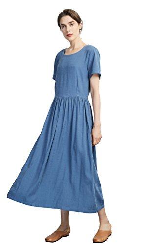 Sellse Women's Linen Loose Summer Casual Long Dress Cotton -
