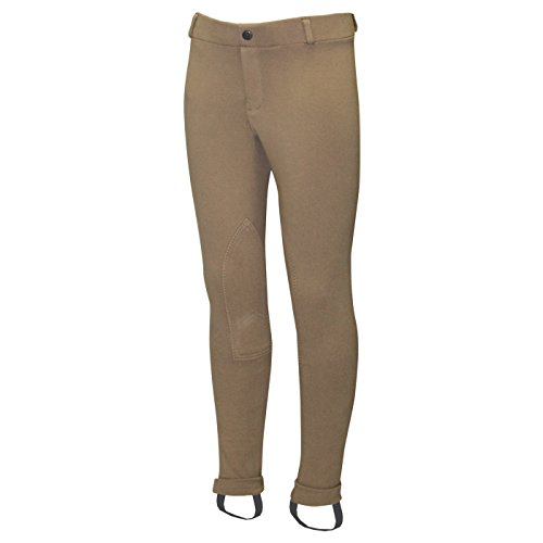 ELATION Jodhpurs Girls Riding Pants Red Label - Classic Duff Tan Breeches, Kids Leather Knee Patch Jods for Girls w/Elastic Waist Band - Kids Breeches Girls Riding Tights for Beginners