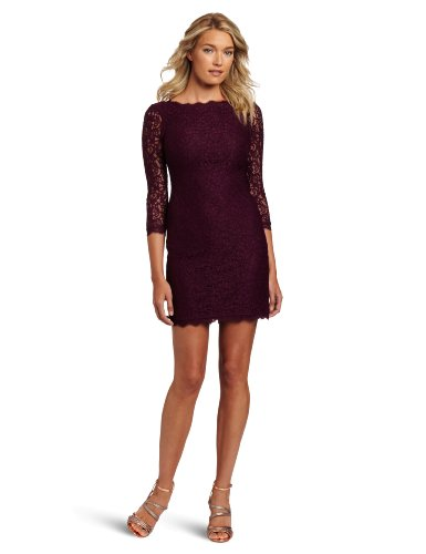 Adrianna Papell Women's 3/4 Sleeve Lace Dress, Mulberry, 14 by Adrianna Papell