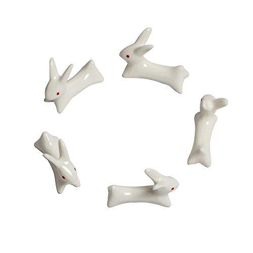 Fonder Mols 5pcs Ceramic Rabbit Chopstick Rest Spoon Fork Kn