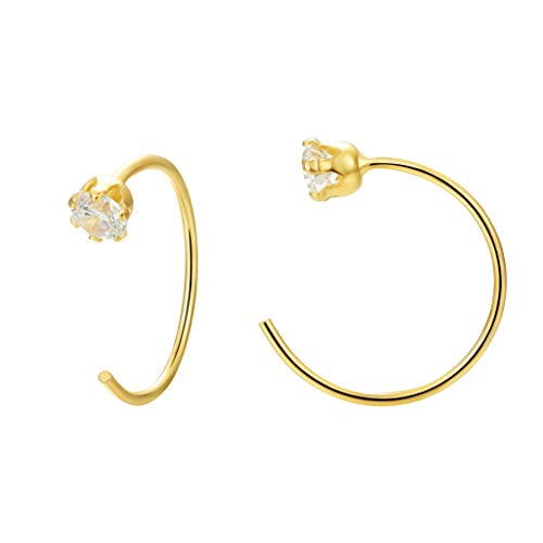 Cartilage Hoop Earring Ring 14K Gold Plated Sterling Silver Hoop Earring Ring with Cubic Zircon for Cartilage Nose Lip Rings