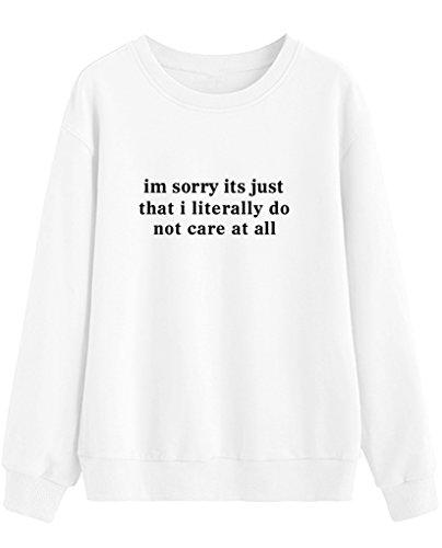Letter Señoras Casual Larga Blanco Pullovers Sweatshirt Mujer Blackmyth Manga pYdqnwvqZ