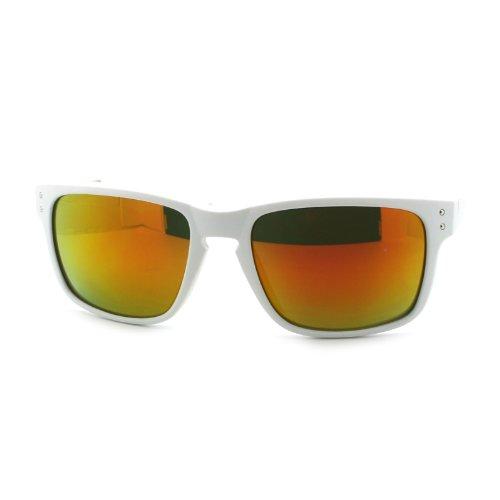 Mens mirrored Lens Rectangular Futuristic Sport Rubberized Matte Sunglasses - Sunglasses Cia
