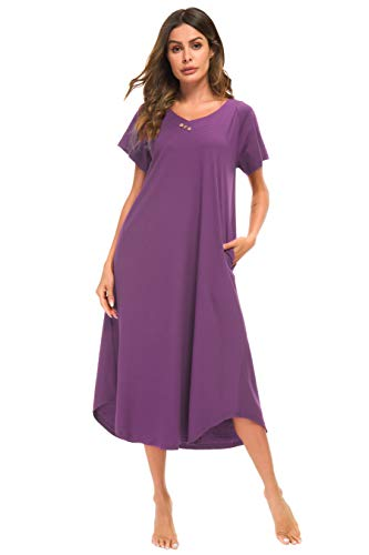 (YOZLY Loungewear Womens Nightgown Cotton Knit Short Sleeve Sleepwear Long Nightshirt with Pockets S-XXL (Purple,)