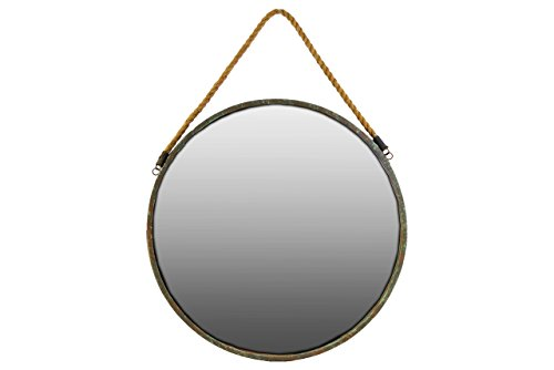 "Urban Trends Metal Wall Mirror Round, Brown - Comes individually, material type: metal Brown in color 21.50""X21.50""X1""H - bathroom-mirrors, bathroom-accessories, bathroom - 31g7Sgoc52L -"