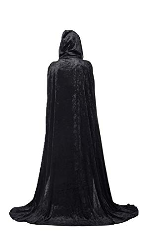 Beautifulfashionlife Hooded Cloak Cape Play Costume Black Velvet Plus Size -