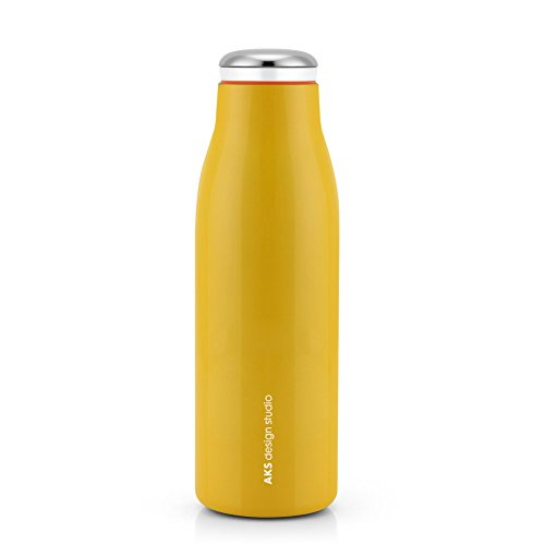 AKS Vacuum Insulated Water Bottle, Double Wall Stainless Steel Travel Mug (17oz, Yellow)