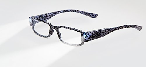 EVIDECO LED Reading Glasses with Light, LG Grey Tiger Optic By Finess Power +1