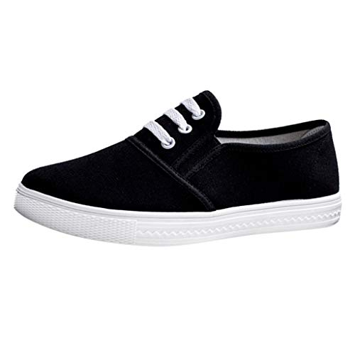 (Dainzuy Womens Classic Canvas Shoes Sneakers Low Top Sneaker Adults Fashion Lace Up Lightweight Breathable Casual Flat Black)