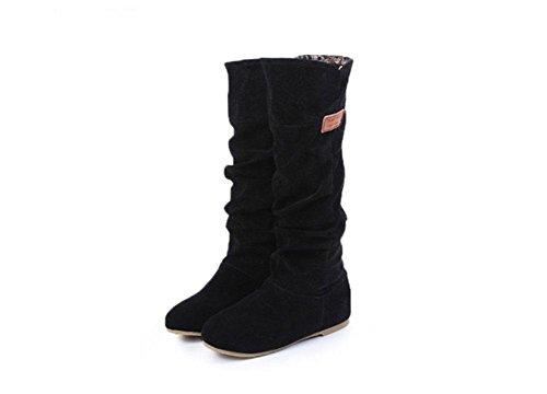 KUKI Damenstiefel, Damenschuhe, matt, hoher Zylinder, Stiefel, niedriger Absatz, Ärmel, Spitzenblumen, Baumwollstiefel black