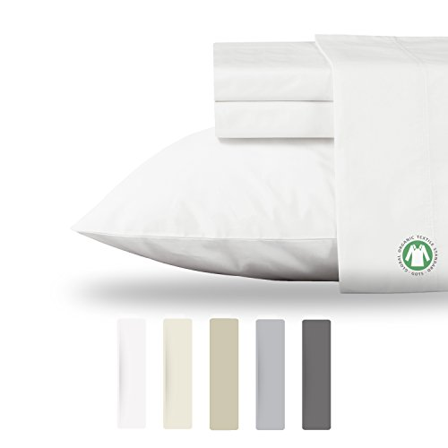 n 300 Thread Count Organic Cotton Sheets Set Organic- GOTS Certified (Cal King, Pure White) ()
