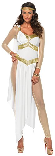 UHC Women's Greek Golden Goddess Toga Theme Party Fancy Dress Halloween Costume, S (4-6) (Plus Size Greek Goddess Costume)